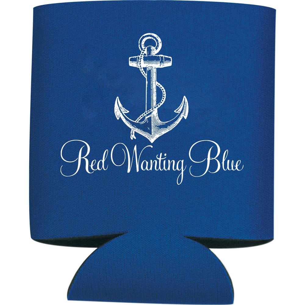 Red Wanting Blue Blue Koozie Front
