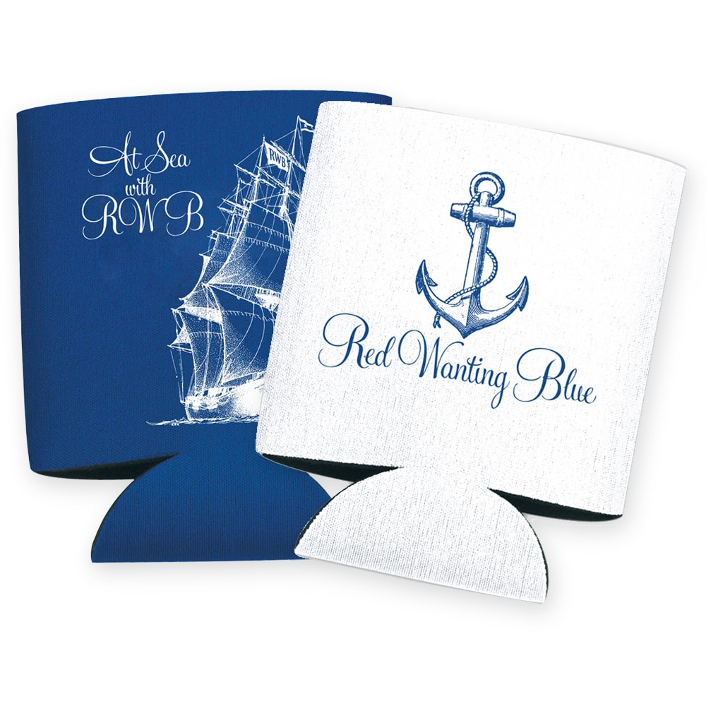Red Wanting Blue Koozie Blue White
