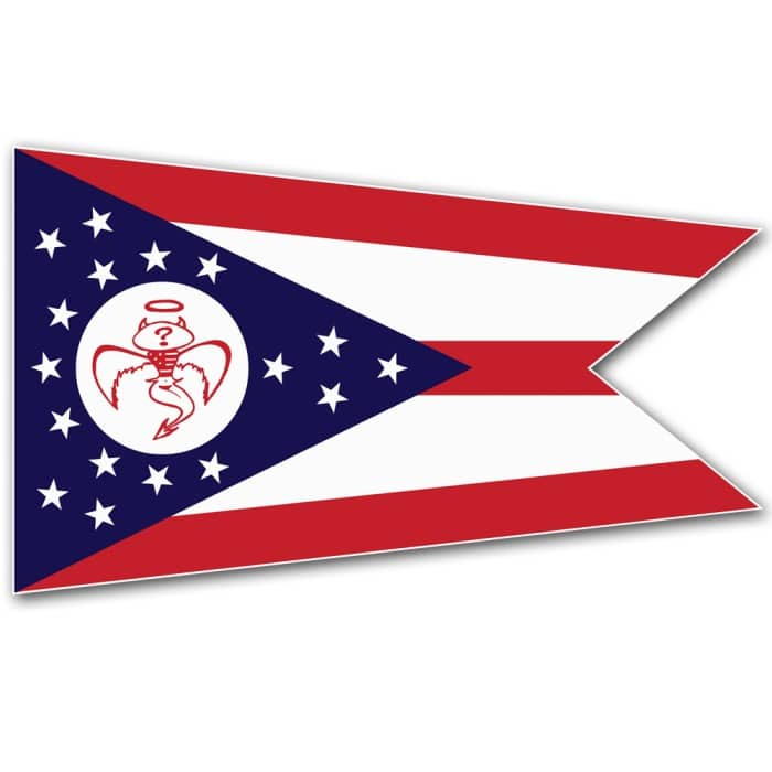 Red Wanting Blue Flag Decal
